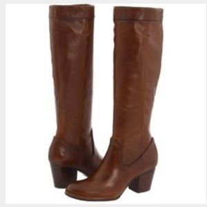 FRYE | Tall Leather Chestnut Heel Boots
